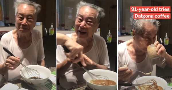 S'porean Teaches Grandpa To Make Dalgona Coffee, His Cute Reactions Melt Our Hearts