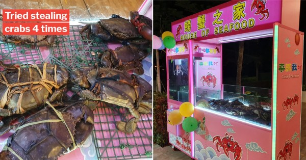 Man Steals 81 Crabs From Punggol Eatery Claw Machine, Gets Caught At Bus Stop