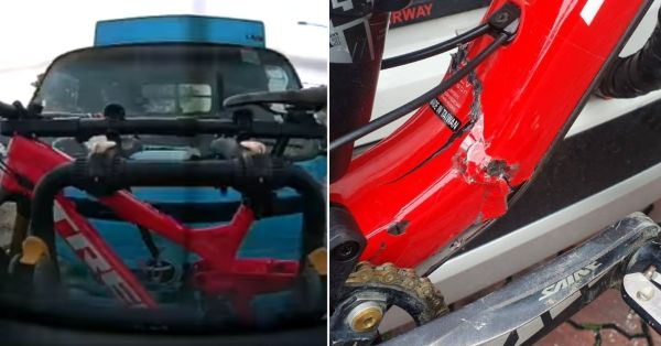 Lorry Rams Into Bike Propped On S'pore Car, Damage May Cost More Than Vehicle Repair