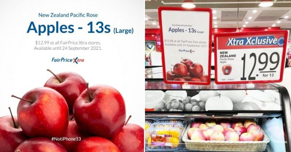 FairPrice Sells Apples In 13s As iPhone Marketing Joke, Gives Netizens Hilarious Replies