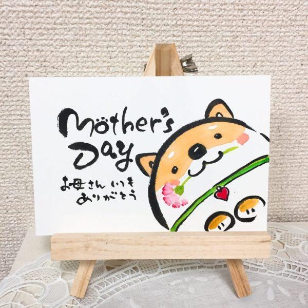 柴犬とカーネーションの母の日の絵手紙