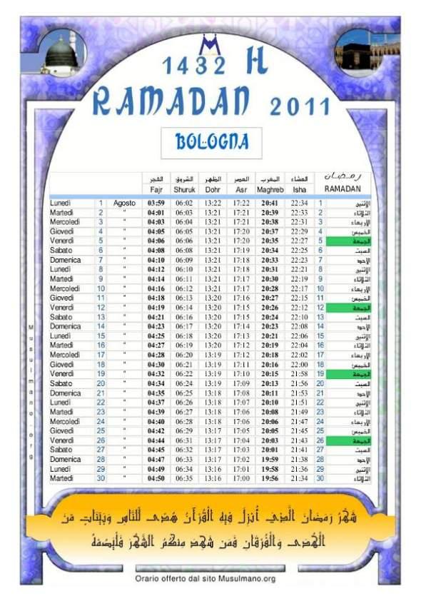 Calendario Ramadan 1432 2011