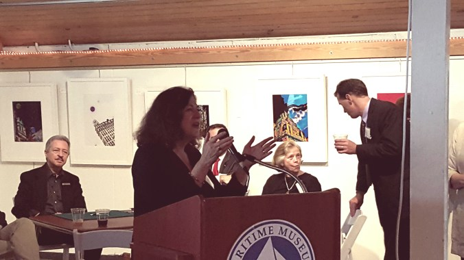 Eileen King, Executive Director of Child Justice, shares information on the organization at the Honoring Heroes of Child Justice Ceremony on May 22, 2016.