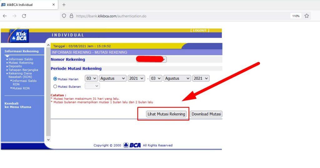 Bukti transfer BCA via internet banking - akses melalui PC