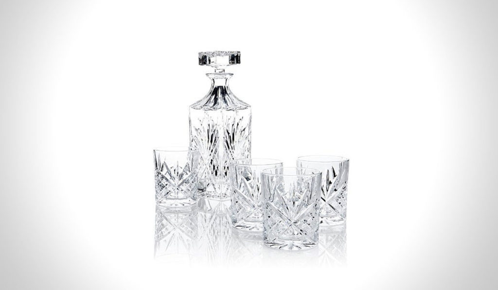 James Scott 5 PC Crystal Whiskey Decanter Set | gifts for whiskey lovers