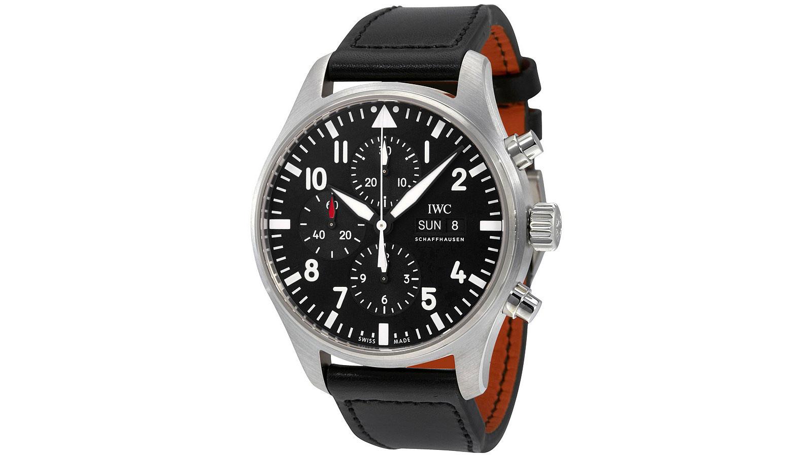 IWC Pilot Black Automatic Chronograph Men's Watch   the best pilot watches for men