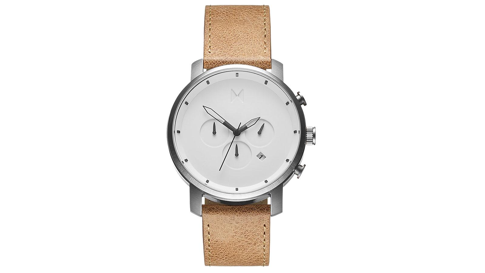 MVMT Chrono White Caramel Leather Watch | best men's watches under $300