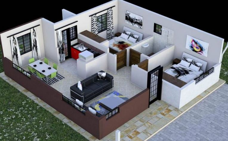 2 Bedroom House plan in Kenya with floor plans  amazing design     2 Bedroom House plan in Kenya with floor plans  amazing design
