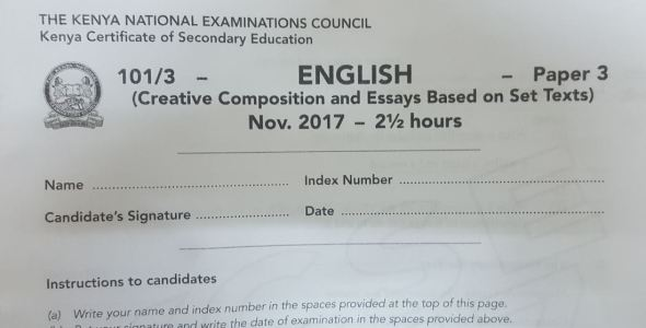KCSE 2017 English Paper 3 past paper