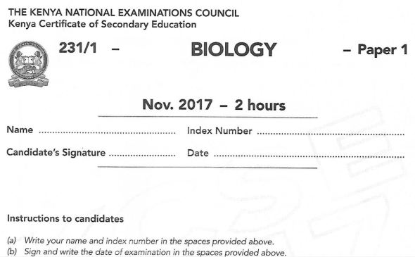 Biology Paper 1 KCSE 2017 past paper