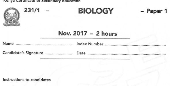 Biology Paper 1 KCSE 2017 past paper