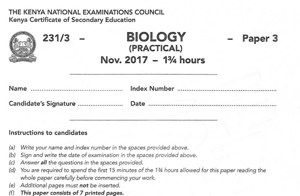 KCSE Biology Paper 3 2017 Exam questions with Answers (KNEC Past Paper) -  Muthurwa Marketplace