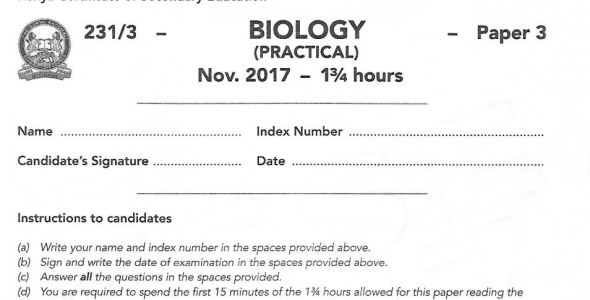 Biology Paper 3 KCSE past paper with answers