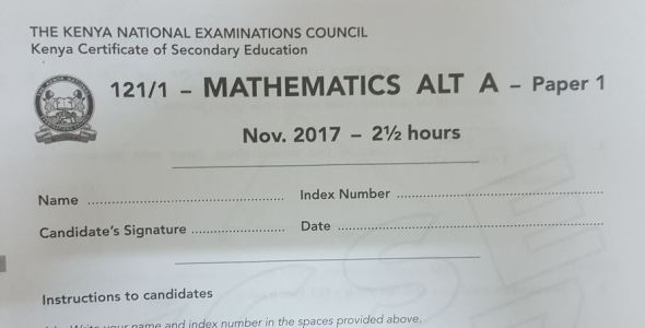 Mathematics Paper 1 Alt A 2017 KCSE past paper