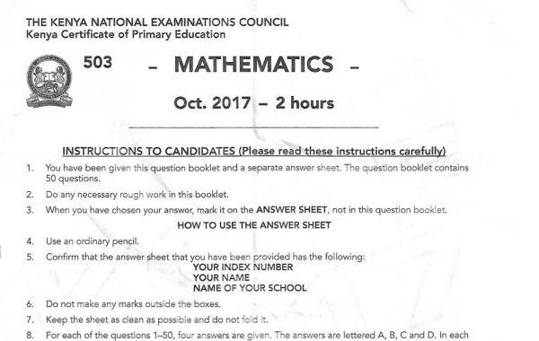 KCPE Past paper maths 2017, mathematics