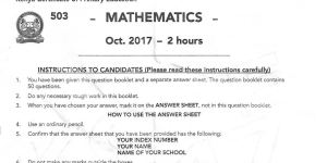 KCPE Past paper maths 2017, mathematics
