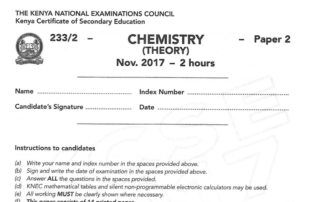 KCSE Chemistry Paper 2 2017 Exam questions with Answers (KNEC Past Paper) -  Muthurwa Marketplace