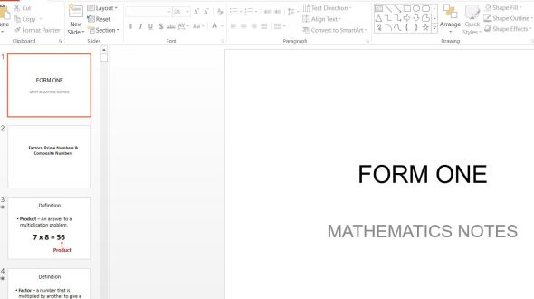 Download Form 1 Mathematics Class Notes ppt (Secondary Schools in Kenya)