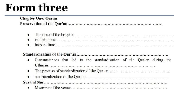 Download Form 3 Islamic Religious Education (IRE) Notes pdf, Kenya