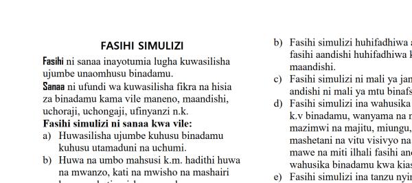 Kiswahili Fasihi Simulizi Notes