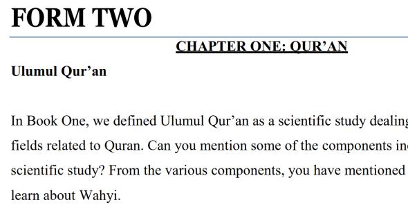 Form 2 Islamic Religious Education (IRE) Notes pdf (secondary schools, Kenya)