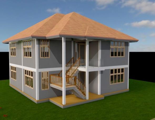 2Bedroom, 2 story House Plan in Kenya