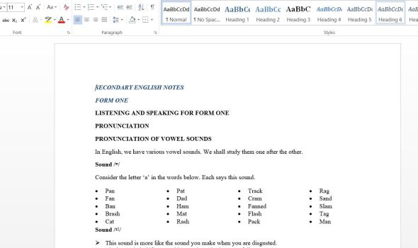 download secondary schools Form One English Class Notes pdf