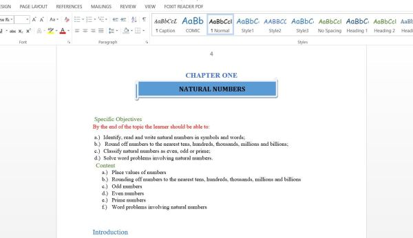 Form one to four mathematics class notes from kicd
