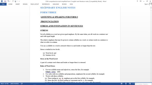 English Form Three Class Notes