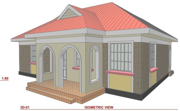 Small family 2 bedroom house plan in Kenya