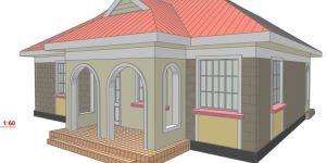 Small family 2 bedroom house plan in Kenya