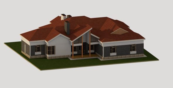 4 bedroom Bungalow House Plan in Kenya