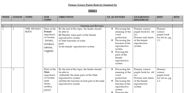 KLB Science Class 6 Schemes Of Work Term 1, 2 and 3