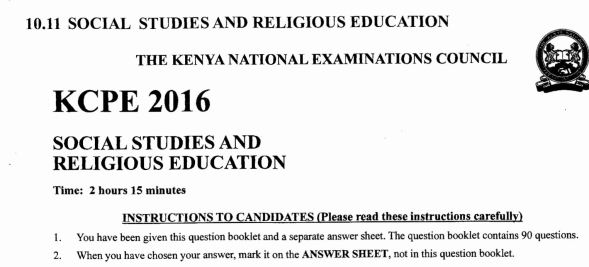 KNEC KCPE 2016 Past Papers with Marking Schemes , english, mathematics, social, science