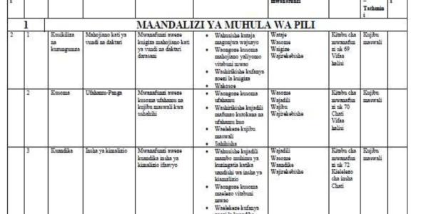 Maazimio ya kazi ya kiswahili kwa darasa la nane muhula wa pili