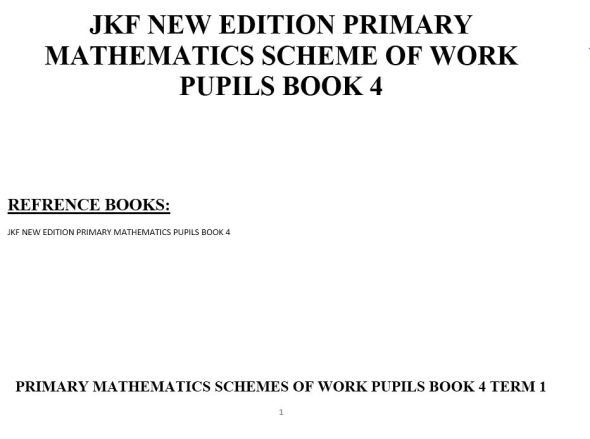 Class 4 jkf new edition maths schemes of work
