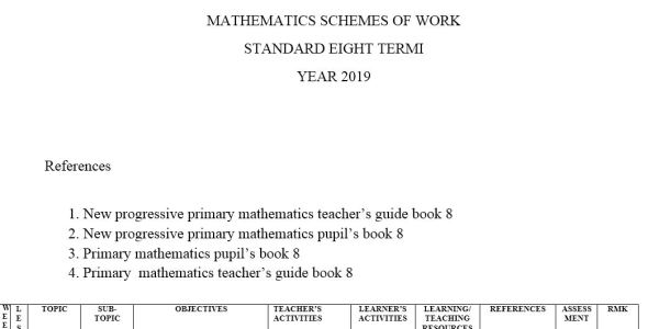 class 8 New progressive primary mathematics term 1,2,3 (new curriculum)