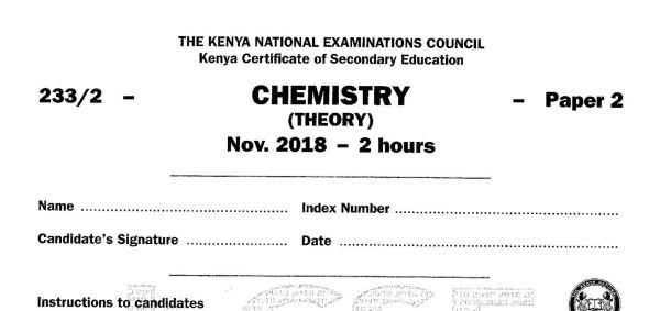 KCSE Chemistry Paper 2, 2018 with Marking Scheme (Answers)