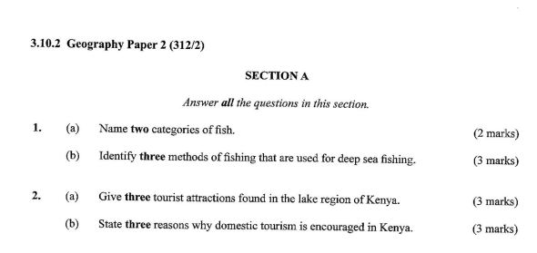 KCSE Geography Paper 2, 2018 with Marking Scheme (Answers)