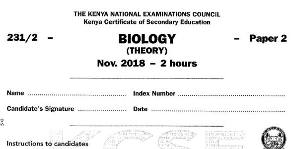 KCSE Biology Paper 2, 2018 with Marking Scheme (Answers)