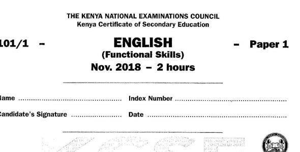 KCSE English Paper 1, 2018 with KNEC Marking Scheme (Answers)