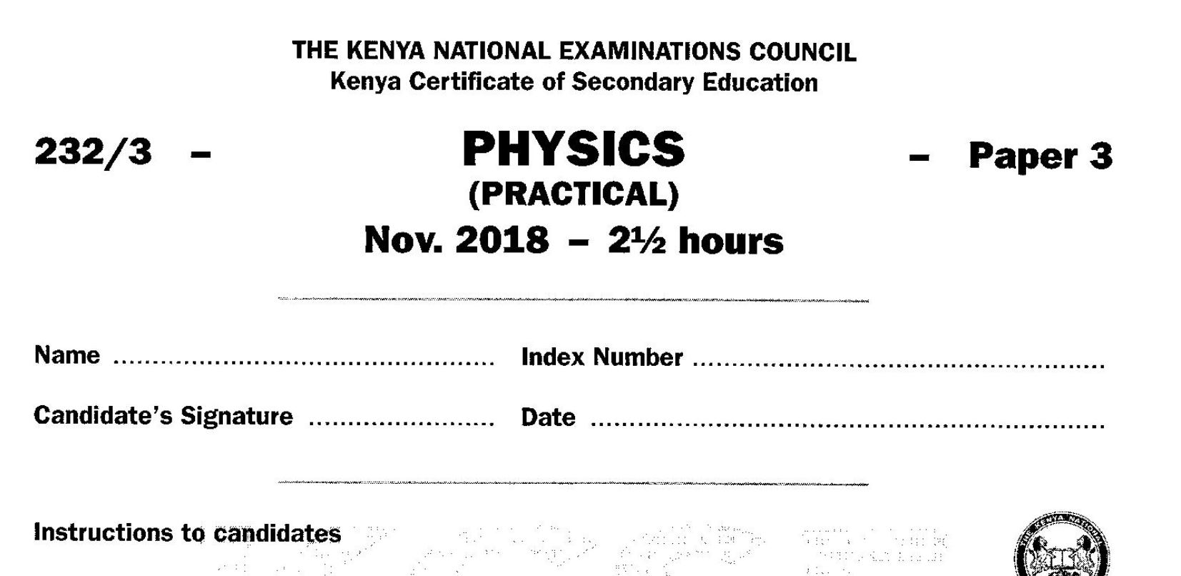 KCSE Physics Paper 3, 2018 with Marking Scheme (Answers) - Muthurwa  Marketplace