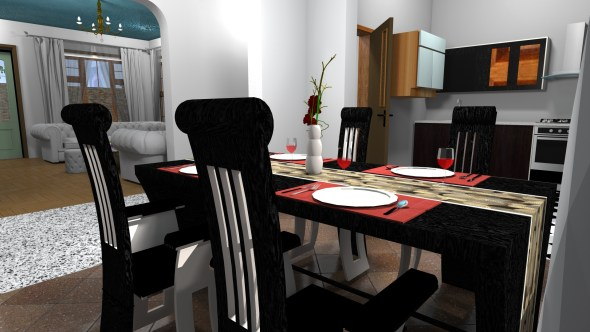 dinning of Three Bedroom Bungalow House Design in Kenya