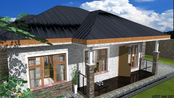exterior of Three Bedroom Bungalow House Design in Kenya