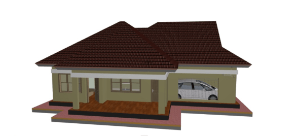 simple two bedroom house plan in kenya, side walls
