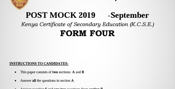 Kabarak Post-Mock 2019 Geography Paper 1 and 2 Combined with Marking Schemes