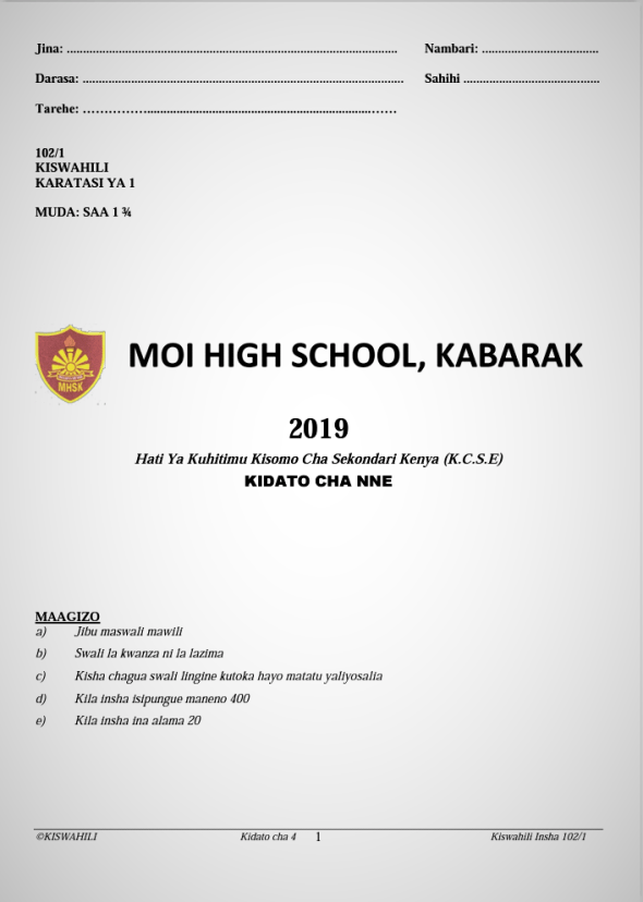 Kabarak Post-Mock 2019 Kiswahili Paper 1, 2 and 3 Combined with Marking Schemes