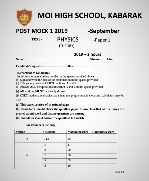 Kabarak Post-Mock 2019 Physics Paper 1, 2 and 3 Combined with Marking Schemes