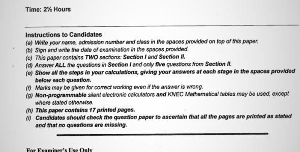 Maranda High School Post Mock Form 4 Mathematics Paper 2