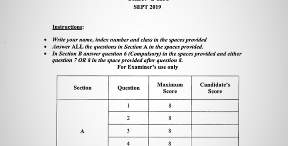 Maranda High School Form 4 Biology Paper 2 (September, 2019)